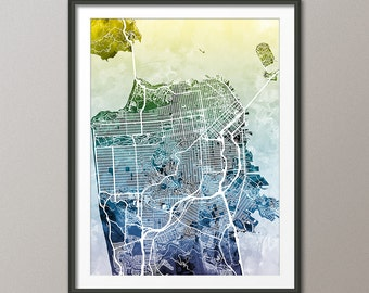 San Francisco Map, San Francisco California City Street Map, Art Print (1878)