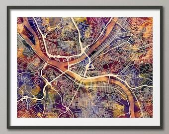 Pittsburgh Map, Pittsburgh Pennsylvania City Street Map, Art Print (1933)