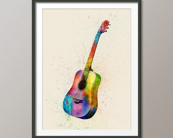 Acoustic Guitar, Abstract Watercolor Music Instrument Art Print (1986)