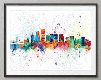 Portland Skyline, Portland Oregon Cityscape Art Print (2009)