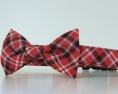 Plaid Bow Tie Dog Collar Red White Blue Memorial Day Fourth of July Made to Order