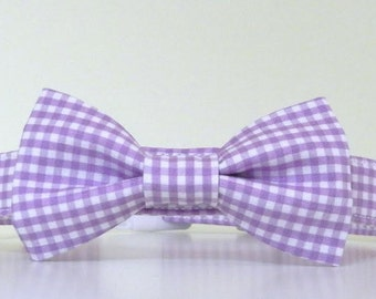 Lavender Purple Gingham Bow Tie Dog Collar Summer Collar Wedding Accessories Made to Order
