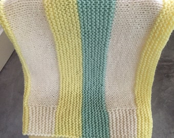 SALE - Hand Knit Baby Afghan or Lap Blanket Throw Striped Cream Yellow Sea Foam Green Blanket
