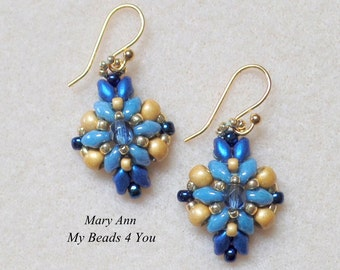 SuperDuo Beaded Earrings, Blue Earrings, Beadwork Earrings, Earrings, Beaded Earrings, Tutorial, SuperDuo Beads, Beaded Jewelry
