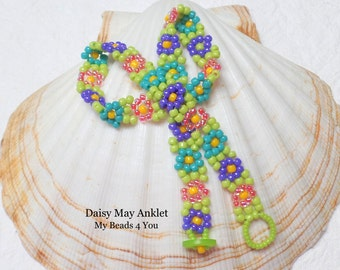 Beaded Anklet,Bead Daisy Chain Ankle,Daisy Chain Jewelry,Seed Bead Jewelry, Anklet, Beaded Jewelry,Beading Tutorial, Summer Anklet