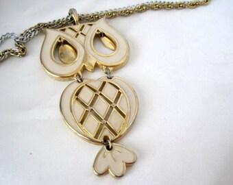 Owl Pendant - White Enamel - Gold Tone Chain Necklace