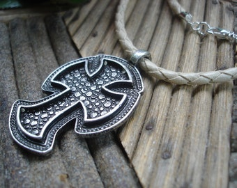 CLEARANCE, Pewter Cross Pendant Leather Necklace, Coptic Cross, Ivory Leather, Mens Jewelry, Gifts for Men, Orthodox, Pewter Pendant, SALE