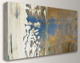 "Abstract Panoramic Art - Canvas Print - White, Blue, and Ochre Colors - Expressionist - Modern Home Decor - "" Perspective """