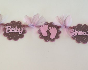 Baby Shower Banner - PINK BABY FEET - New Baby - Baby Girl - Wall Decorations - Pink and Brown