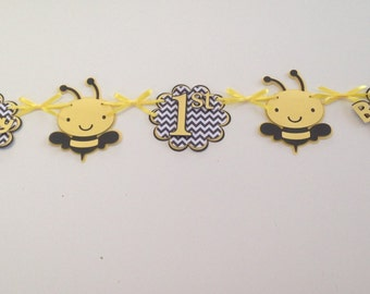 Happy Birthday Banner - Yellow and Black BUMBLE BEE - Wall Decoration - Birthday Party - Boy/Girl/Gender Neutral