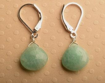Amazonite Earrings, Sea Green Earrings, Blue Green Earrings, Summer Earrings, Healing Gemstoner