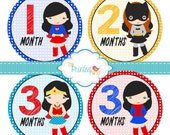 Monthly Baby Stickers - Baby Shower Gift and Photo Prop - Super Girls - 305