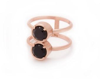 Stacked Rose Gold Ring - Black Onyx Ring - Stacking Ring - Natural Gemstone Ring - Round Stack Ring - Double Gemstone - Sizes 5, 6, 7