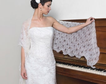 WEDDING SHAWL bridal wrap ecru/ivory color cover bridesmaid shrug lace mohair