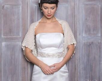 oversize bridal jacket wedding bolero baby alpaca and silk scarf cream color