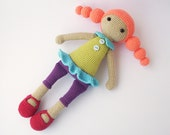 Adelina doll, crocheted doll with dress, pants and with long braids, Crocheted Toy, girl