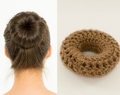 Light-Med Brown Sock Bun Maker / Crocheted Donut Bun Maker, Handmade Women's, Teens, Girls Hair Accessory, Crochet Hair Helper, Knitted