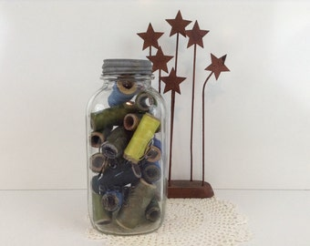 Vintage Ball Jar Filled with Large Spools of Thread ~ Zinc Lid with Porcelain Liner