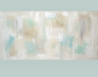 "Art, Painting, Shabby Chic Pastel Abstract Acrylic Art Original Painting on Canvas Titled: Refuge 24x48x1.5"" by Ora Birenbaum"