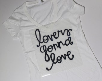 Lovers gonna love// Screen-printed womens' cotton-poly deep V-neck tee