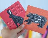 Set of 2 Animal Stickers / Folk Art / Hare and Bear / Removable Decals / Original Illustration / Vinyl Decal / Bumper Sticker