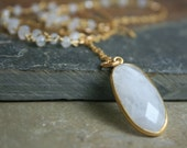 Moonstone Gold Gemstone Necklace