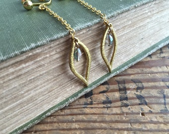 Long Chain Leaf Clip On Earrings, Purple Green with Raw Brass Clip on