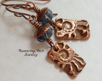 Ammonite Earrings, Blue Copper Earrings, Czech Glass Beads, Kristi Bowman Charms, Funky Spirals, Boho Earrings, Artisan Copper Jewelry
