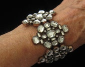 """SALE Bold Rhinestone & Copper Vintage Stretch Panel Bracelet from the 1980's signed CM.  2-3/16"""" W."""