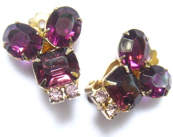 CLEARANCE Amethyst Rhinestone Vintage Earrings with Lavender Rhinestone Accents.  Clip Backs