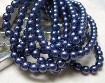 Vintage 4mm Czech Glass Pearls in Navy.  3 dz.