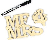 Sample 5-Piece Mr. and Mrs. Solid Wood Alternative Guest Book Puzzle