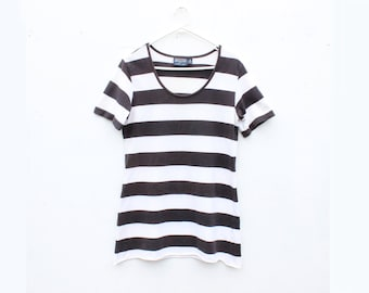 Awesome 90s Minimal Bold Striped Thin + Slouchy Tee / T Shirt Dress