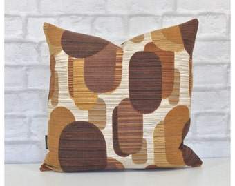 """Cushion Cover Vintage 70s Graphic Fabric Brown Retro Kitsch 16"""" x 16"""""""