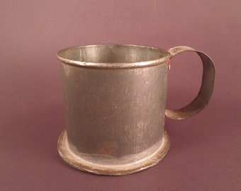 Hand Made Tin Cup, Antique Rusty Relic