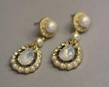 Vintage Bridal Earrings, Gold Earrings, Pearl Earrings, Opal Stones, White Opal, Chalcedony Opal