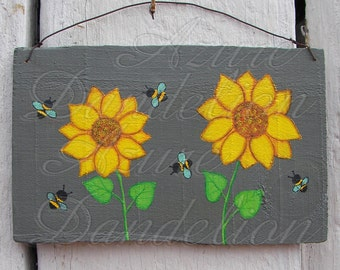 Sunflowers and Honey Bees Painting Urban Home Room Decor Original Primitive Folk Art