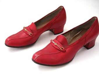 Vintage 40s Red Shoes Women's Size 10 Narrow EUR 40 - 41 UK 8 Narrow