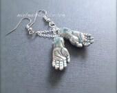 Zombie Hand Dangle Earrings. Ceramic Halloween Earrings. Silver. Spooky. Corpse Zombie Jewelry. Creepy. Blue Feet. Under 25. Oddities Unique