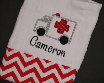 Ambulance burp cloth; EMT burp cloth; Medical burp cloth; paramedic burp cloth;nurse; doctor; Personalized, appliqued burp cloth