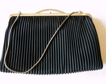 Black Vintage Pleated Fabric Evening Bag Purse with Chain from the 60ies