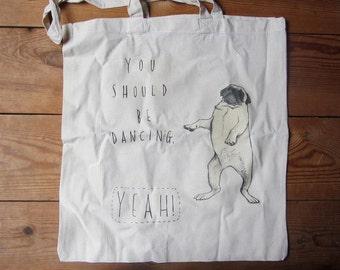 Dancing Pug Cotton Tote Bag - Illustrated Tote Bag - Beegees lyrics