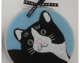 Felt Cat Hoop Art