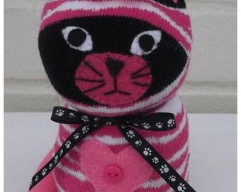 Sock Cat/Sock Animal/toy/Plush Cat. - Moira