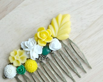 Yellow, White and Green Flower Hair Comb Vintage Style Hair Comb Wedding