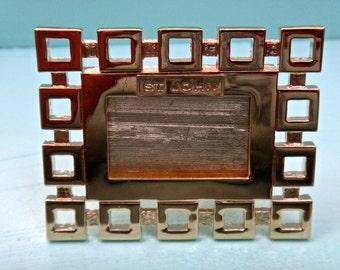 Small Frame, 2 x 2 Frame, Small Gold Frame, Geometric Frame, Metal Frame, St John Frame, Wedding Decor, Place Card Holder, Chunky Frame