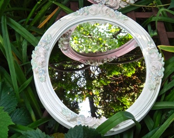 Oval Mirror, 14 x 18 Mirror, White Mirror, Pastel Floral Mirror, Spring Flowers, Baby Shabby Chic Cottage Chic Wall Hanging, Rustic Boudoir