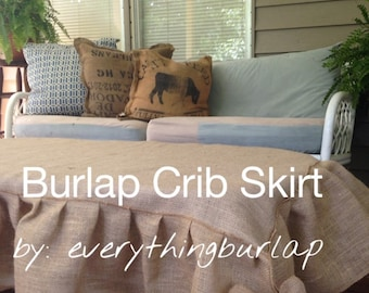 NEW Burlap Crib skirt
