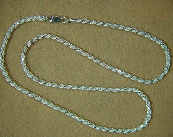 """Fine Italian 22"""", 060 - 3.0MM, 925 Solid Sterling Silver Necklace Chain, Fancy Rope Style, Lobster Clasp  *91SS6022"""