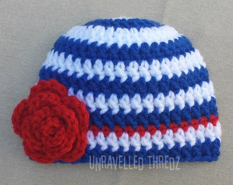 Fourth of July Baby Hat, Red White and Blue, Newborn Photo Prop Hat, Crochet Baby Girl Hat